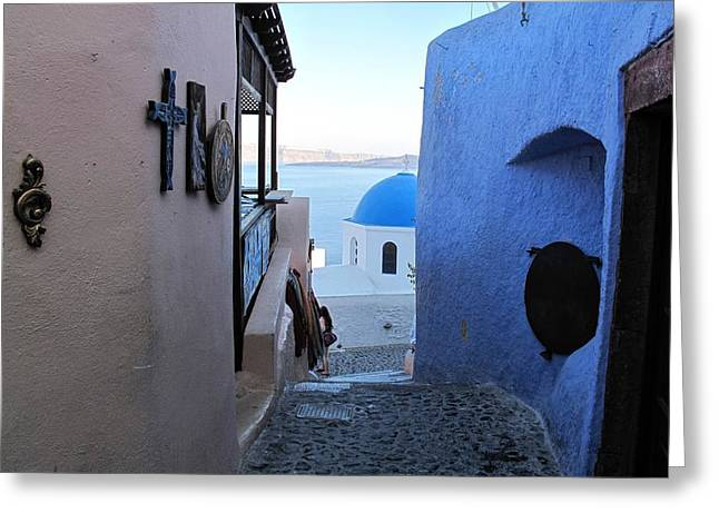 Side Street Santorini Greeting Card by Martine Murphy