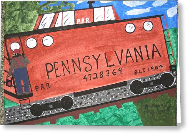 Caboose Paintings Greeting Cards - Side Tracked in Pa.  Greeting Card by Jeffrey Koss