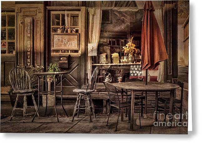 Historic Country Store Digital Art Greeting Cards - Sidewalk Cafe Greeting Card by Lois Bryan