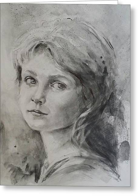 Pensive Drawings Greeting Cards - Sideways Glance Greeting Card by Sherry McCourt