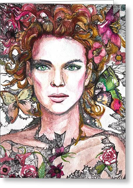 Black Lace Greeting Cards - Sidhe Greeting Card by Patricia Allingham Carlson