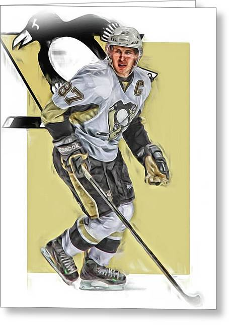 Sidney Crosby Pittsburgh Penguins Oil Art Greeting Card by Joe Hamilton