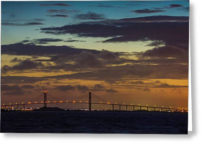Island Stays Greeting Cards - Sidney Lanier Bridge Twilight Greeting Card by Chris Bordeleau