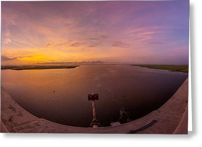 Island Stays Greeting Cards - Sidney Lanier Bridge Twilight Panorama Greeting Card by Chris Bordeleau