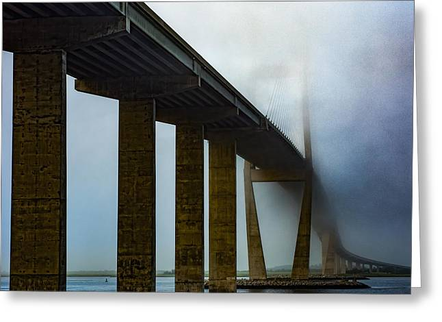 Sidney Lanier Bridge Under Fog - Square Greeting Card by Chris Bordeleau