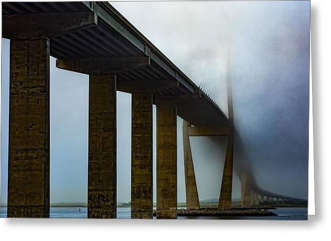 Mist Photographs Greeting Cards - Sidney Lanier Bridge under Fog - Square Greeting Card by Chris Bordeleau