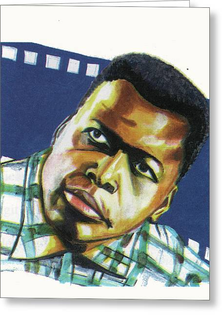 Emmanuel Baliyanga Greeting Cards - Sidney Poitier Greeting Card by Emmanuel Baliyanga