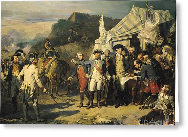 Politicians Paintings Greeting Cards - Siege of Yorktown Greeting Card by Louis Charles Auguste  Couder