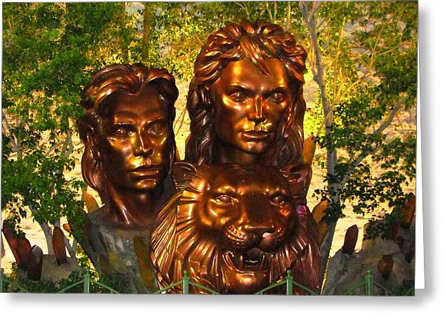 Tamer Greeting Cards - Siegfried And Roy In Bronze Greeting Card by Natalie Ortiz
