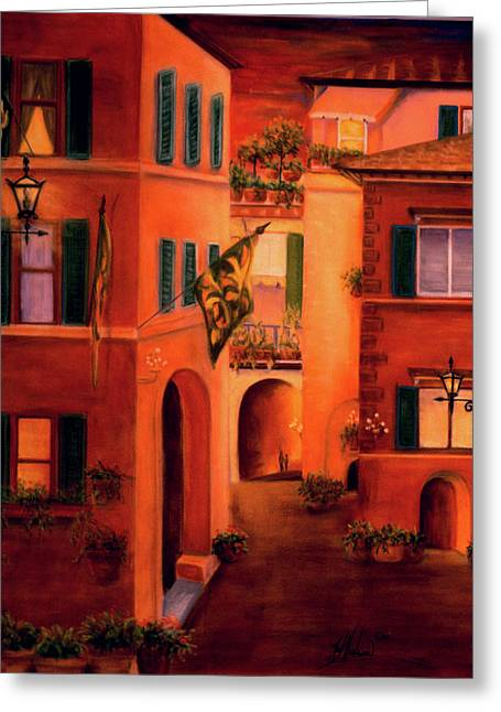 Evening Scenes Pastels Greeting Cards - Siena Greeting Card by Leah Wiedemer
