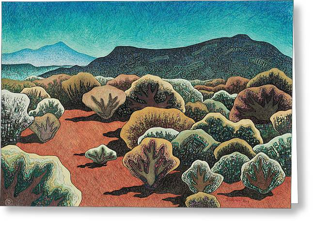 Santa Fe Mixed Media Greeting Cards - Sierra Negra north view Greeting Card by Dale Beckman