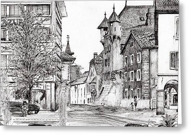 Sierre, Switzerland Greeting Card by Vincent Alexander Booth