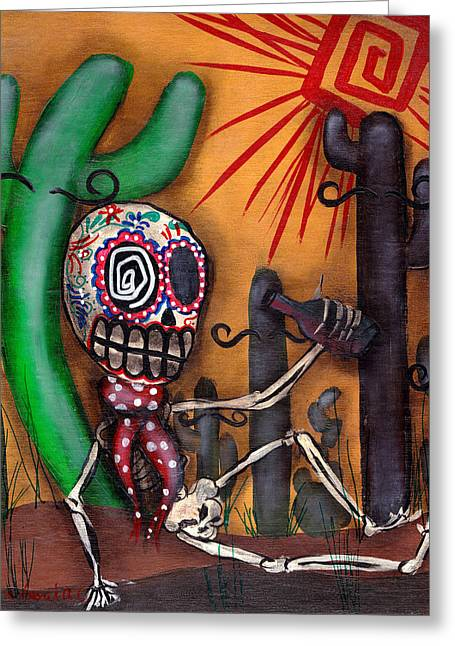 Muertos Greeting Cards - Siesta  Greeting Card by  Abril Andrade Griffith