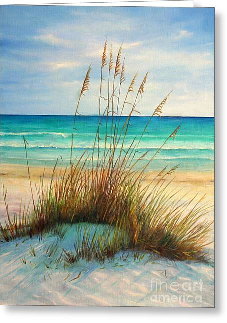 Sand Dunes Paintings Greeting Cards - Siesta Key Beach Dunes  Greeting Card by Gabriela Valencia