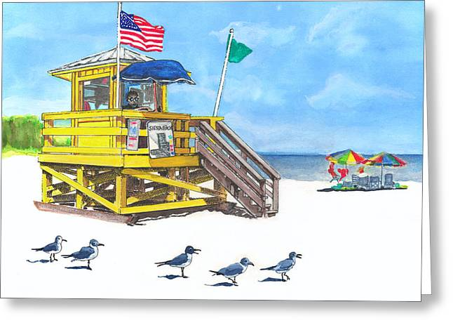 1 Quart Greeting Cards - Siesta Key Beach Life Guard Stand Greeting Card by Warren Day