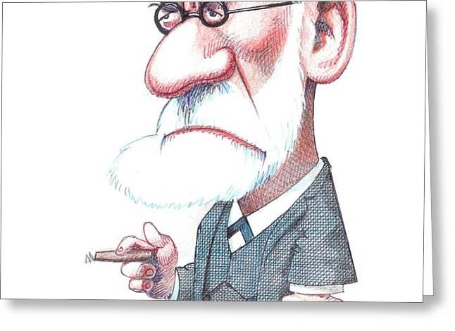 Sigmund Freud, Caricature Greeting Card by Gary Brown