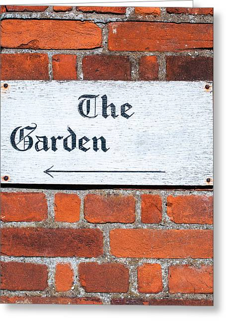 Sustainable Gardening Greeting Cards - Sign for The Garden on a brick wall background Greeting Card by Imran Khan