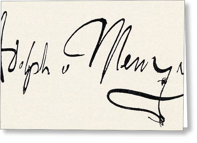 Adolph Greeting Cards - Signature Of Adolph Friedrich Erdmann Greeting Card by Vintage Design Pics