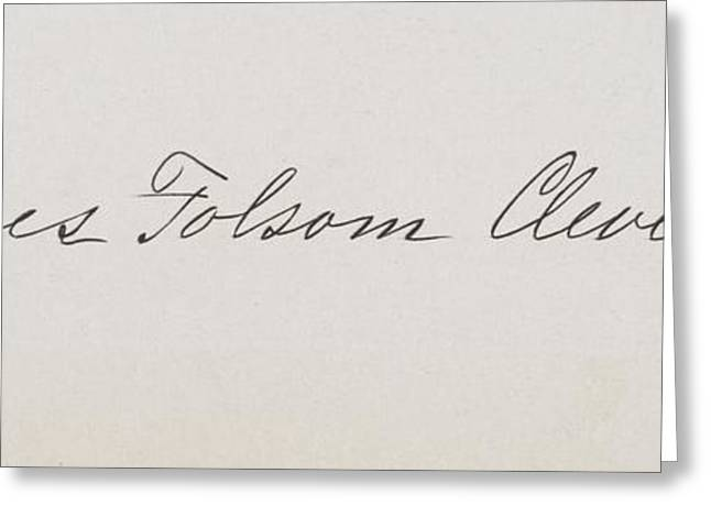 First Lady Drawings Greeting Cards - Signature Of Frances Clara Folsom Greeting Card by Ken Welsh