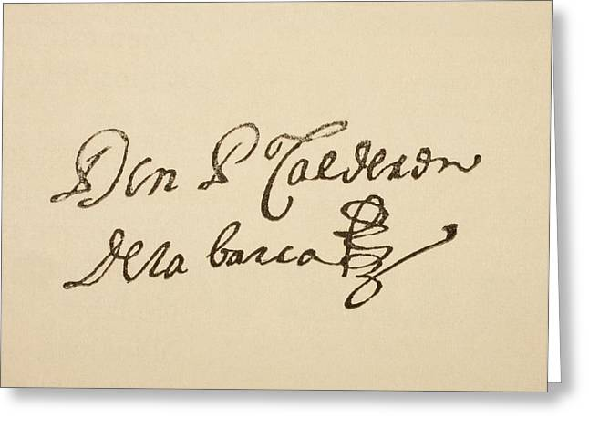 Dramatist Greeting Cards - Signature Of Spanish Dramatist Pedro Greeting Card by Ken Welsh