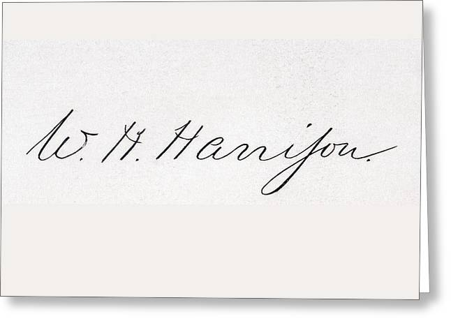 Important Drawings Greeting Cards - Signature Of William Henry Harrison Greeting Card by Vintage Design Pics