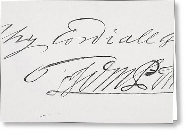 Quaker Greeting Cards - Signature Of William Penn 1644 To 1718 Greeting Card by Vintage Design Pics