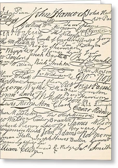 Signatories Greeting Cards - Signatures Attached To The Declaration Greeting Card by Ken Welsh