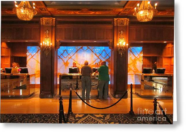 Chateau Greeting Cards - Signing in at the Chateau Frontenac Greeting Card by John Malone
