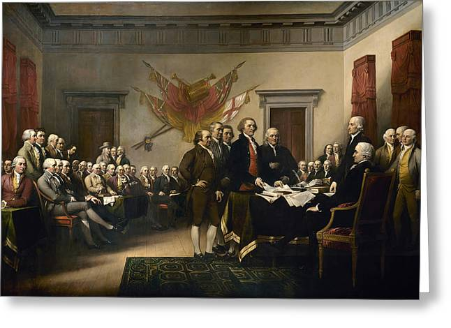 Politicians Paintings Greeting Cards - Signing The Declaration Of Independance Greeting Card by War Is Hell Store