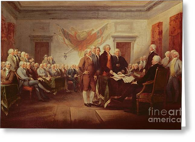 July 4th Paintings Greeting Cards - Signing the Declaration of Independence Greeting Card by John Trumbull
