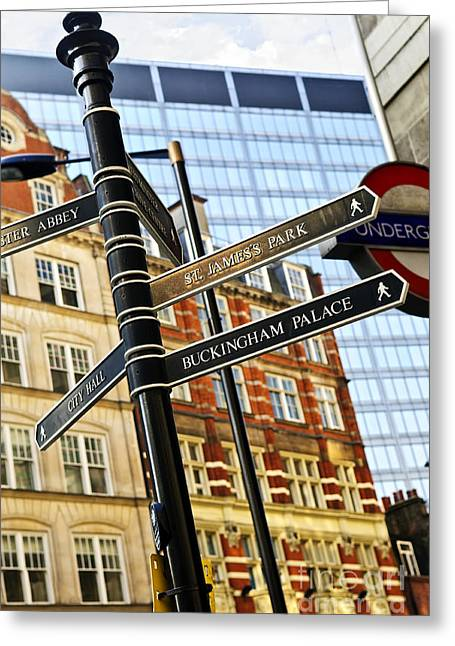 Information Greeting Cards - Signpost in London Greeting Card by Elena Elisseeva