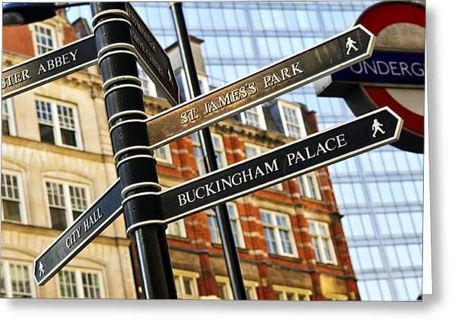 Signpost in London Greeting Card by Elena Elisseeva