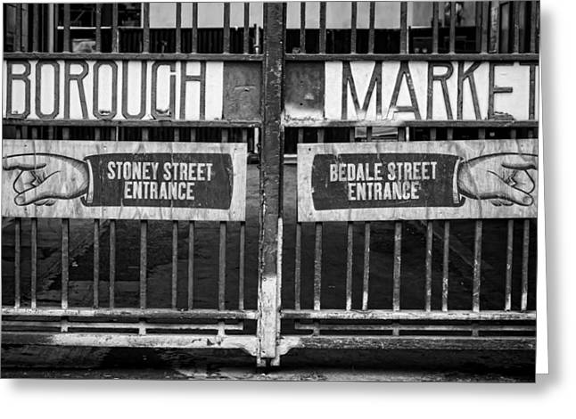Borough Market Greeting Cards - Signs Point the Way Greeting Card by Heather Applegate