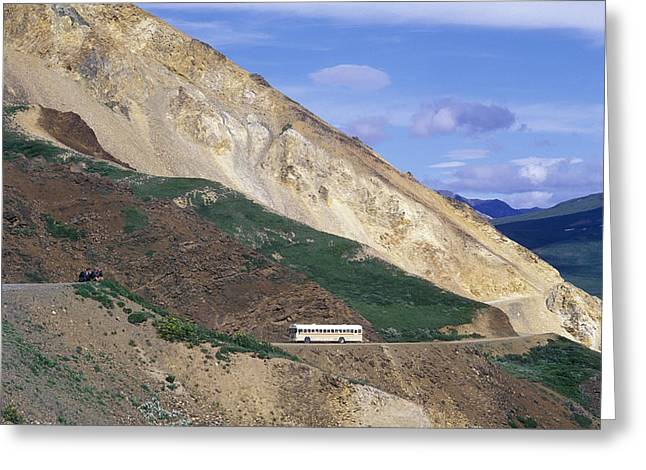 Mountain Road Greeting Cards - Sigthseeing Bus Driving On The Park Greeting Card by Rich Reid