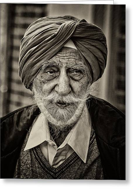 Sikh Parade Nyc 2015 Elderly Sikh Greeting Card by Robert Ullmann