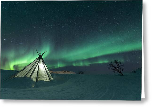 Northern Lights Greeting Cards - Sikka Greeting Card by Tor-Ivar Naess