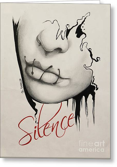 Silence Drawings Greeting Cards - Silence Greeting Card by Elena Spedale