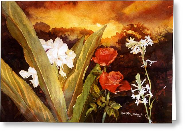 Silence-flowers Sleeping Greeting Card by Estela Robles