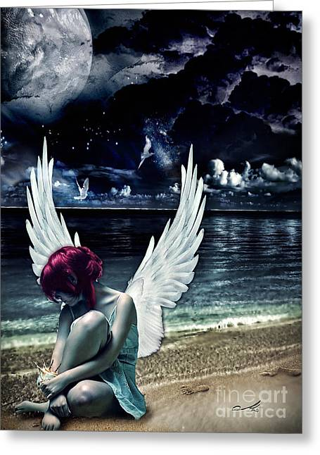 Birds Moon Greeting Cards - Silence of an Angel Greeting Card by Mo T