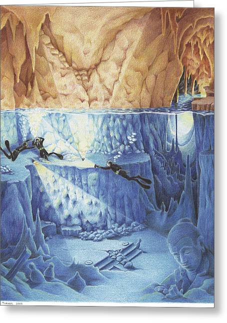 Cavern Greeting Cards - Silent Echoes Greeting Card by Amy S Turner