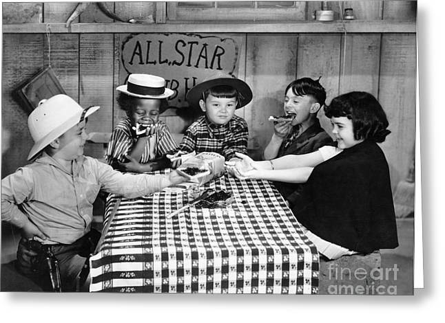 Little Boy Greeting Cards - Silent Film: Little Rascals Greeting Card by Granger