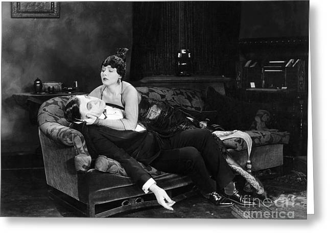 Ecromance Greeting Cards - Silent Film Still: Fainting Greeting Card by Granger