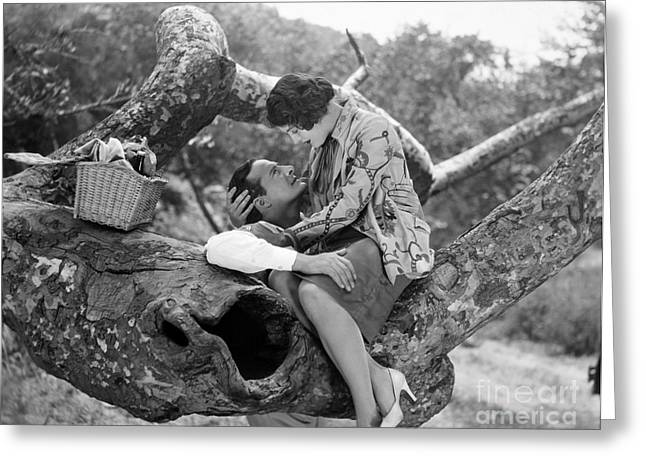 Ecromance Greeting Cards - Silent Film Still: Picnic Greeting Card by Granger