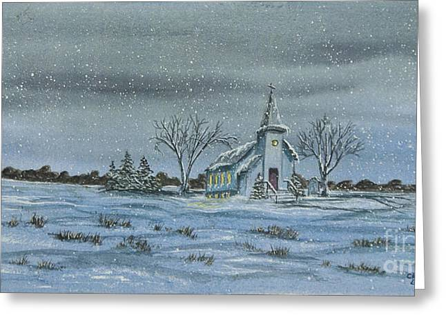 Church Painter Greeting Cards - Silent Night Greeting Card by Charlotte Blanchard