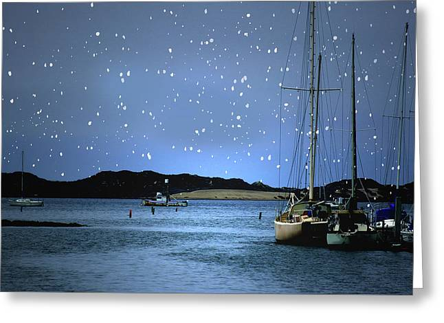 Silent Night Harbor Greeting Card by Stephanie Laird
