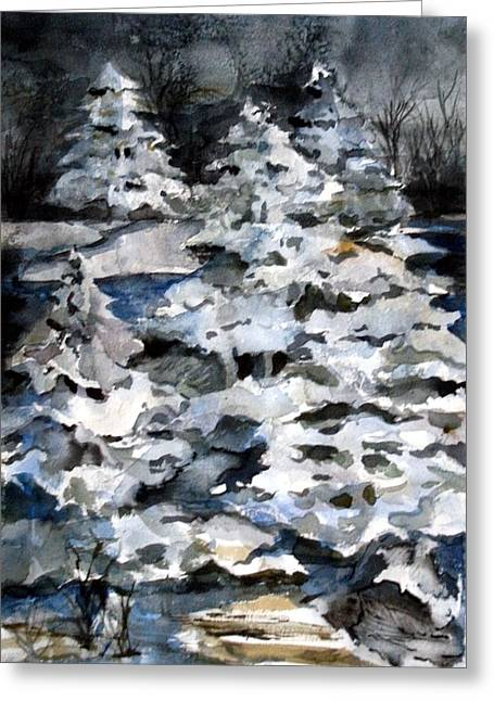 Winter Night Drawings Greeting Cards - Silent Night Greeting Card by Mindy Newman