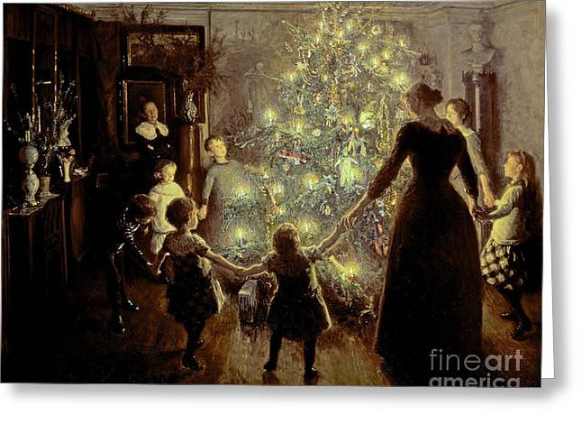 Present Paintings Greeting Cards - Silent Night Greeting Card by Viggo Johansen