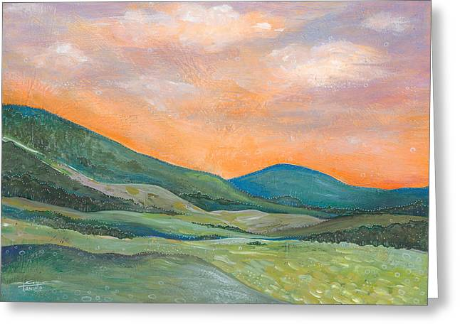 Landscape At Sunset Greeting Cards - Silent Reverie Greeting Card by Tanielle Childers