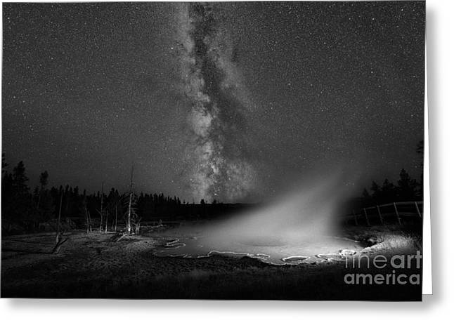 Super Volcano Greeting Cards - Silex Spring Milky Way BW Greeting Card by Michael Ver Sprill