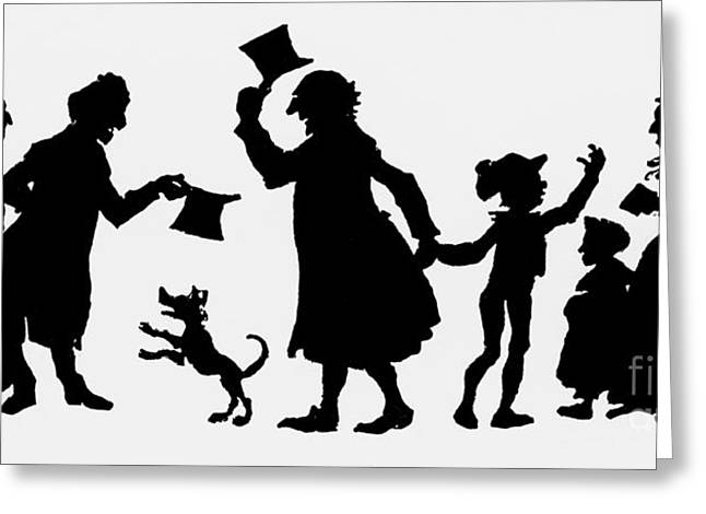 Silhouette Illustration From A Christmas Carol By Charles Dickens Greeting Card by English School
